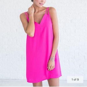 NWT LoveRiche Hot Pink Strappy Dress Size Large